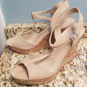 Lucas wedge sandals faux suede